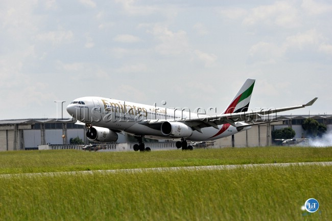 File:The innaugural flight for Emirates Airlines touches down at Kenneth Kaunda international airport